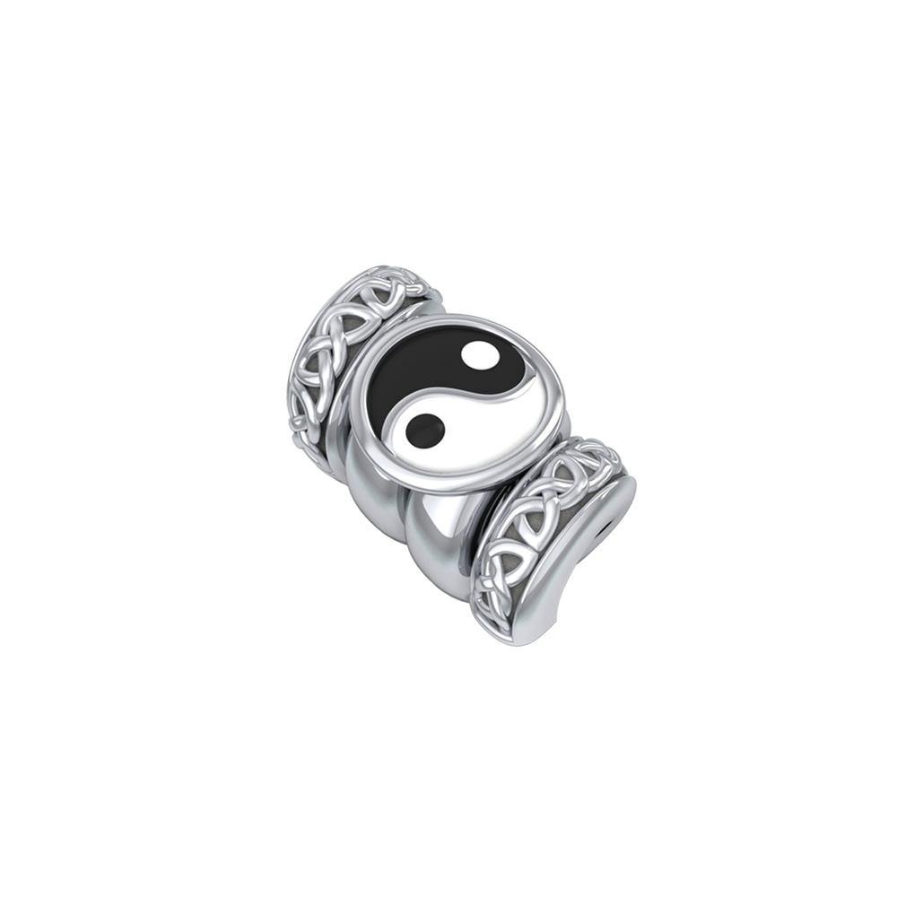 Yin Yang Symbol with Celtic Accented Silver Bead