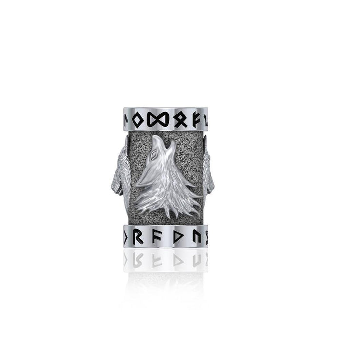 Wolf with Rune Symbol Silver Bead TBD366
