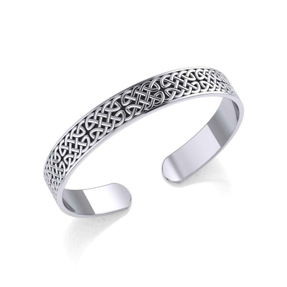 Celtic Knotwork Sterling Silver Cuff Bracelet TBG059 peterstone.