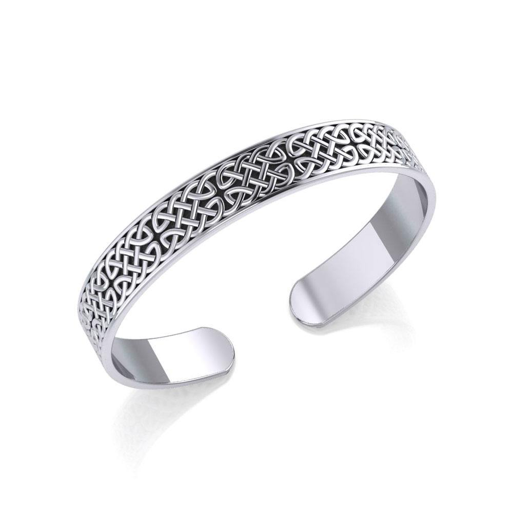 Celtic Knotwork Silver Bangle Bracelet