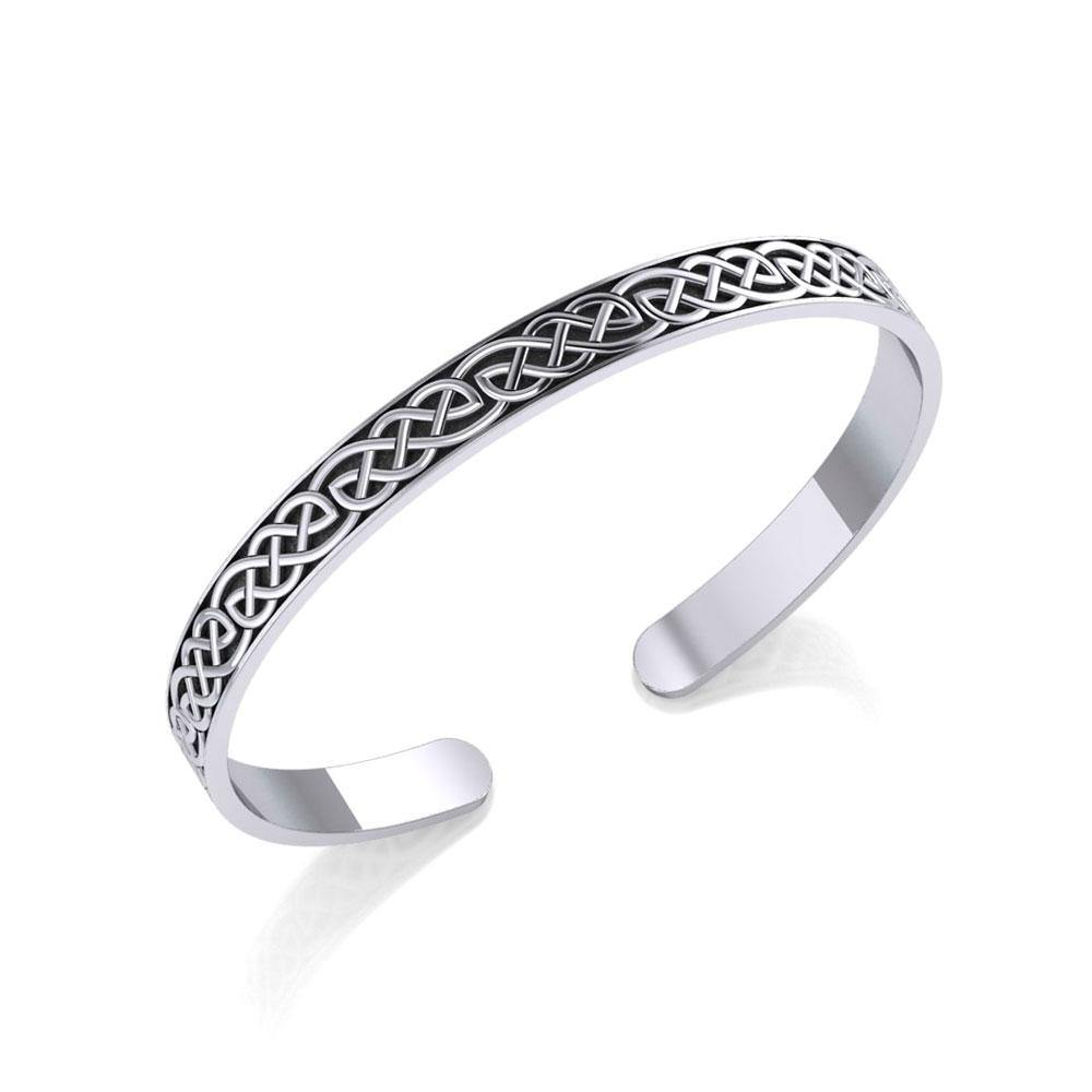 Celtic Knotwork Silver Bangle Bracelet TBG061