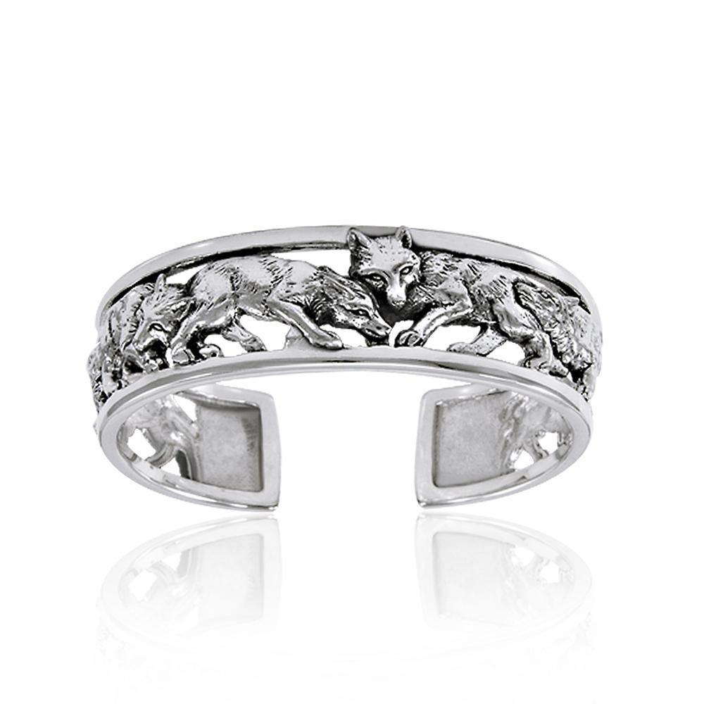 A wolf pack of passion and strength ~ Sterling Silver Jewelry Bangle TBG289 peterstone.