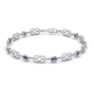 Celtic Knotwork with Amethyst Silver Bracelet TBG311 peterstone.