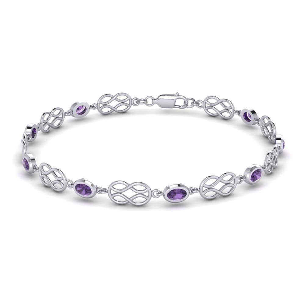 Celtic Knotwork with Amethyst Silver Bracelet TBG311