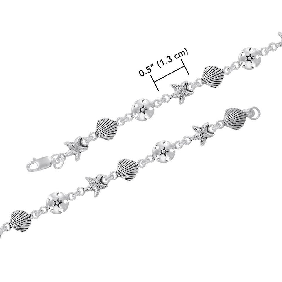 Beach is Life ~ Sterling Silver Jewelry Link Bracelet TBG451