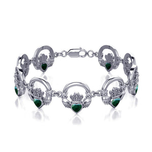 Irish Claddagh Silver Bracelet with Gem Inlay TBG738