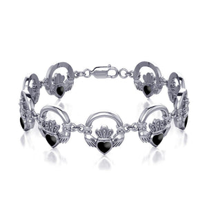 Irish Claddagh Silver Link Bracelet with Gem Inlay TBG738