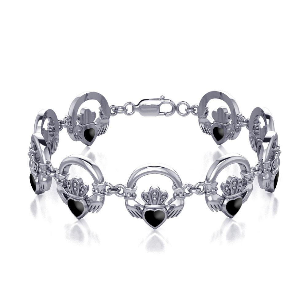 Irish Claddagh Silver Bracelet with Gem Inlay