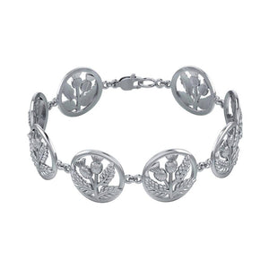 Scottish Thistle Link Bracelet TBG739 peterstone.