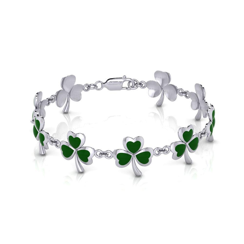 One of Celticโ€™s epitome ~ Sterling Silver Jewelry Shamrock Link Bracelet TBG744 peterstone.