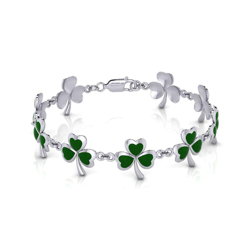 One of Celticโ€™s epitome ~ Sterling Silver Jewelry Shamrock Link Bracelet TBG744