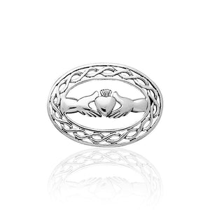 Irish Claddagh with Celtic Knotwork Silver Brooch TBR027 peterstone.