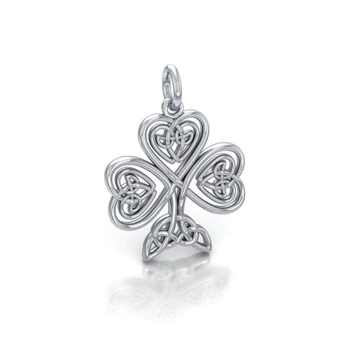 Celtic Knotwork Shamrock Silver Charm TC1083