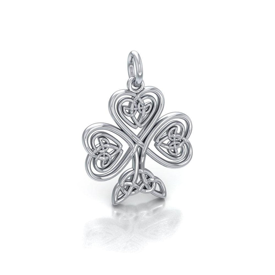 Celtic Knotwork Shamrock Silver Charm TC1083 peterstone.