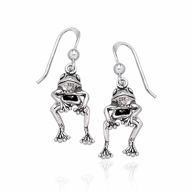 Moveable Frog Silver Silver Earrings