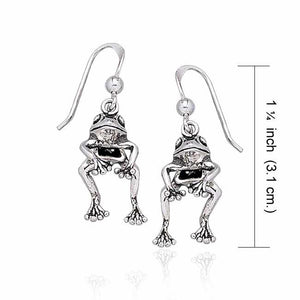 Moveable Frog Silver Silver Earrings TE2100 peterstone.