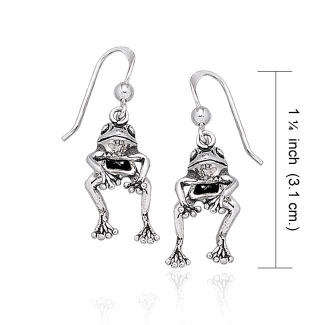 Moveable Frog Silver Silver Earrings TE2100