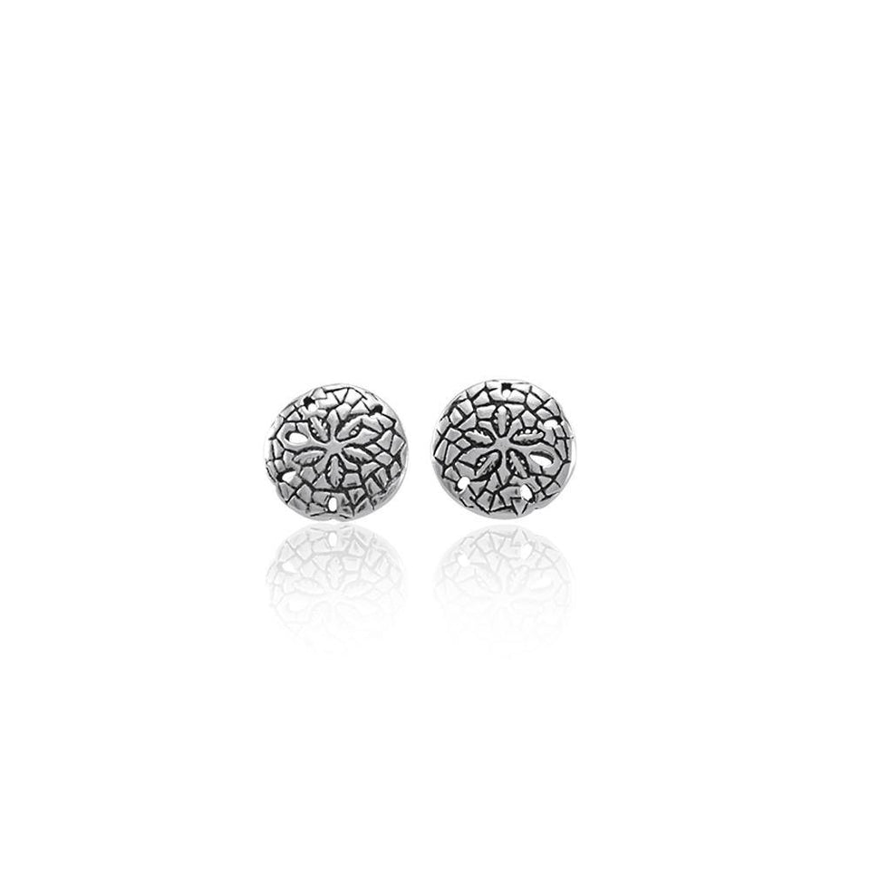 Flow with the ocean ~ Sterling Silver Jewelry Sand Dollar Post Earrings TE2583