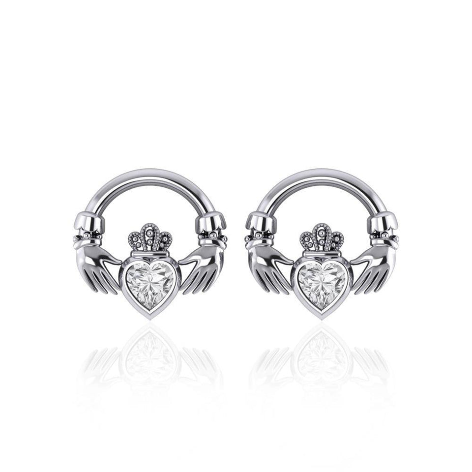 Irish Claddagh Silver Post Earrings with Gem TE277 peterstone.