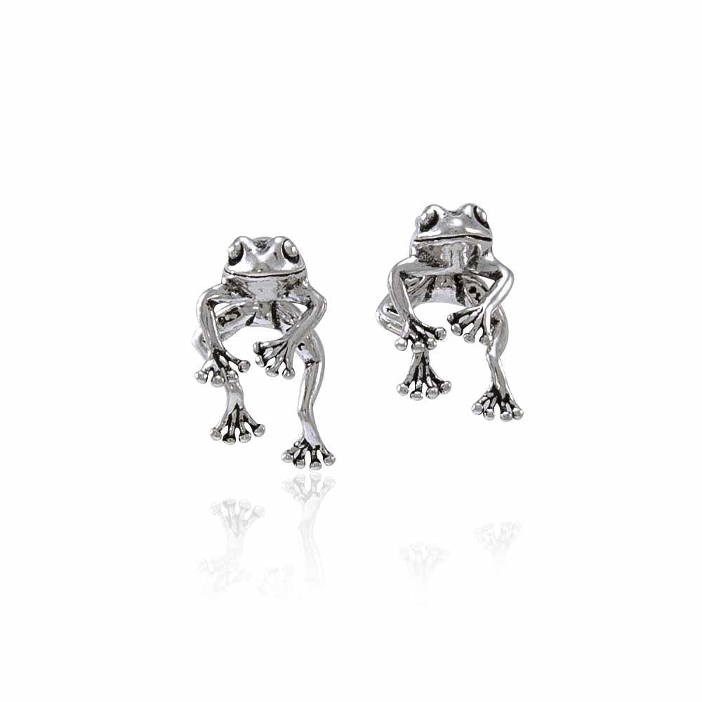 Moveable Frog Silver Silver Earrings TE533