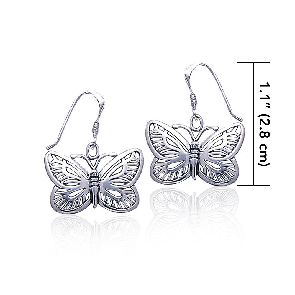 Butterflies are my friends ~ Sterling Silver Jewelry Butterfly Hook Earrings TE808