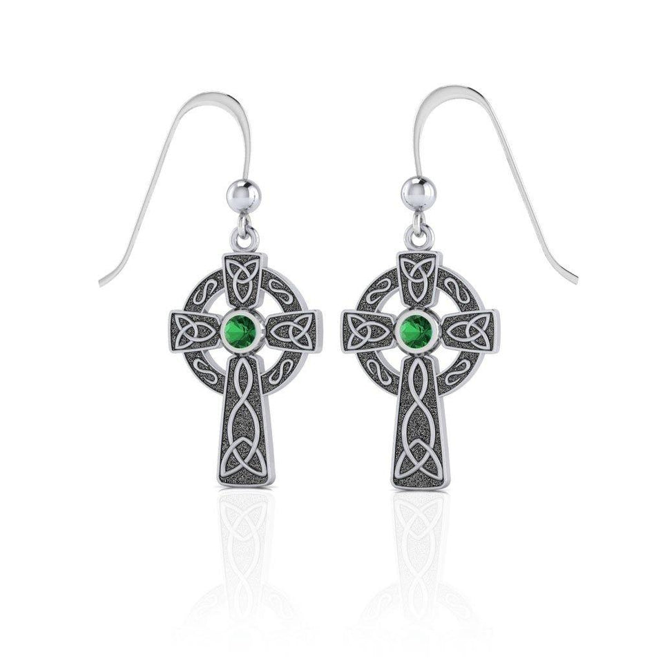 A beautiful statement of pride and faith ~ Sterling Silver Jewelry Celtic Cross Hook Earrings TER075