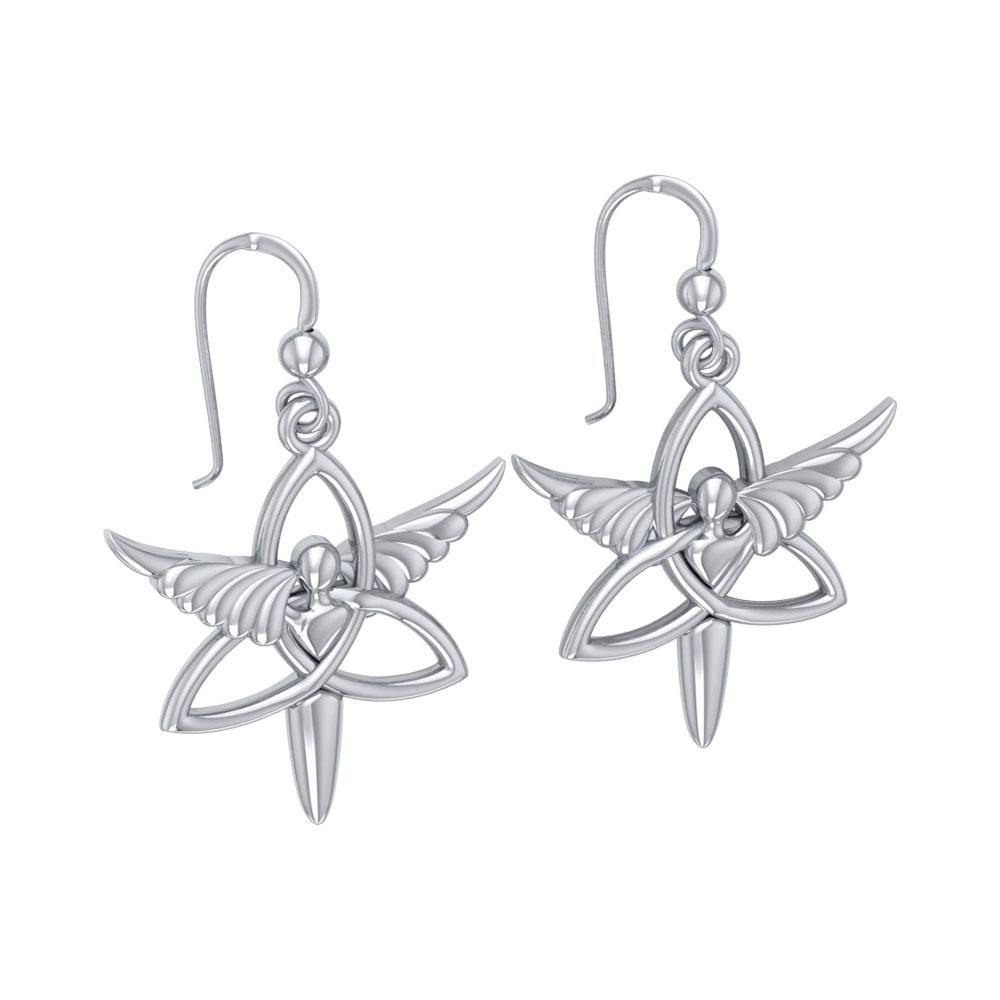 Angel Trinity Knot Sterling Silver Earrings TER1074 peterstone.