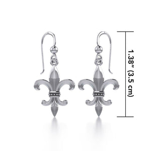 Fleur De Lis Sterling Silver Earrings TER117 peterstone.