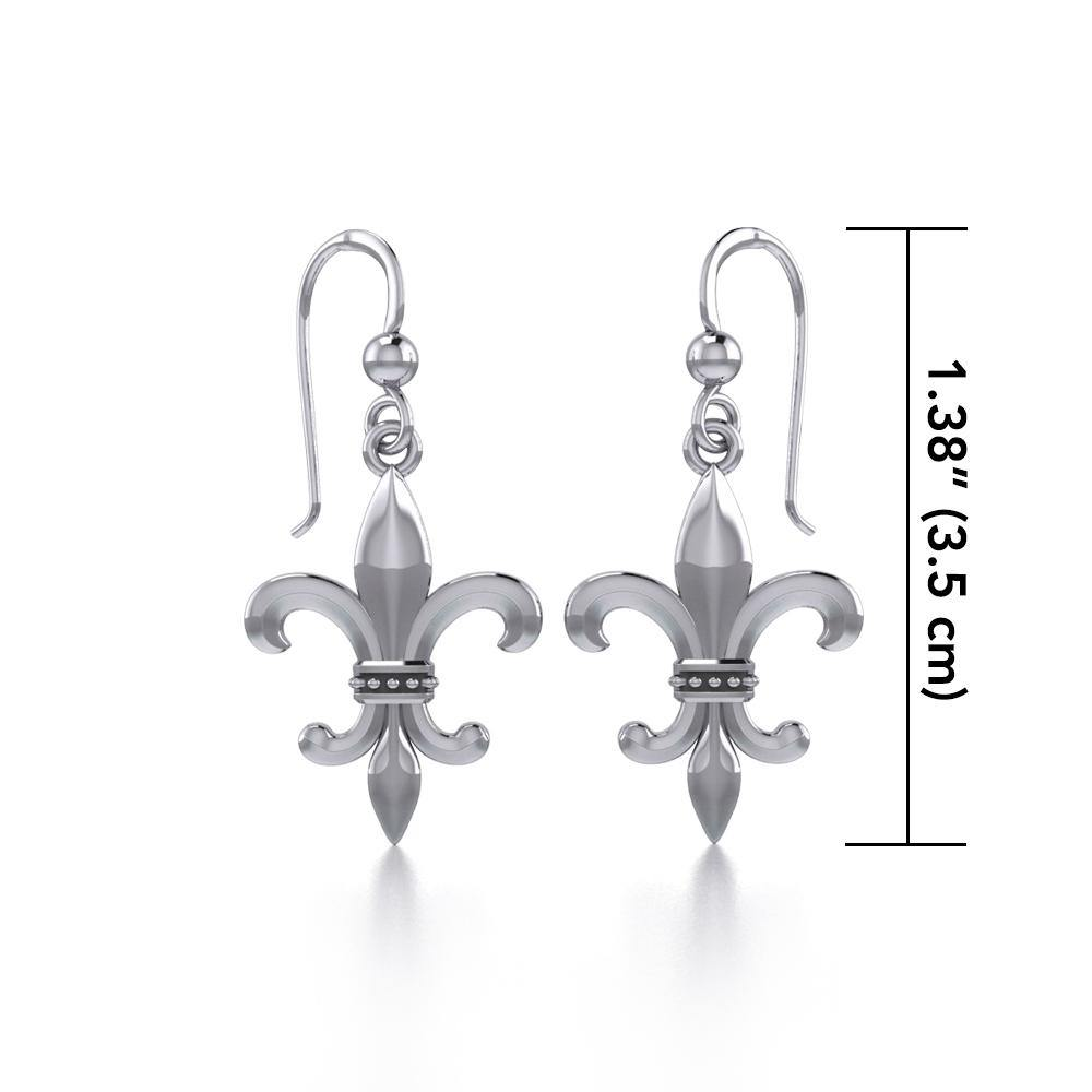 Fleur De Lis Sterling Silver Earrings