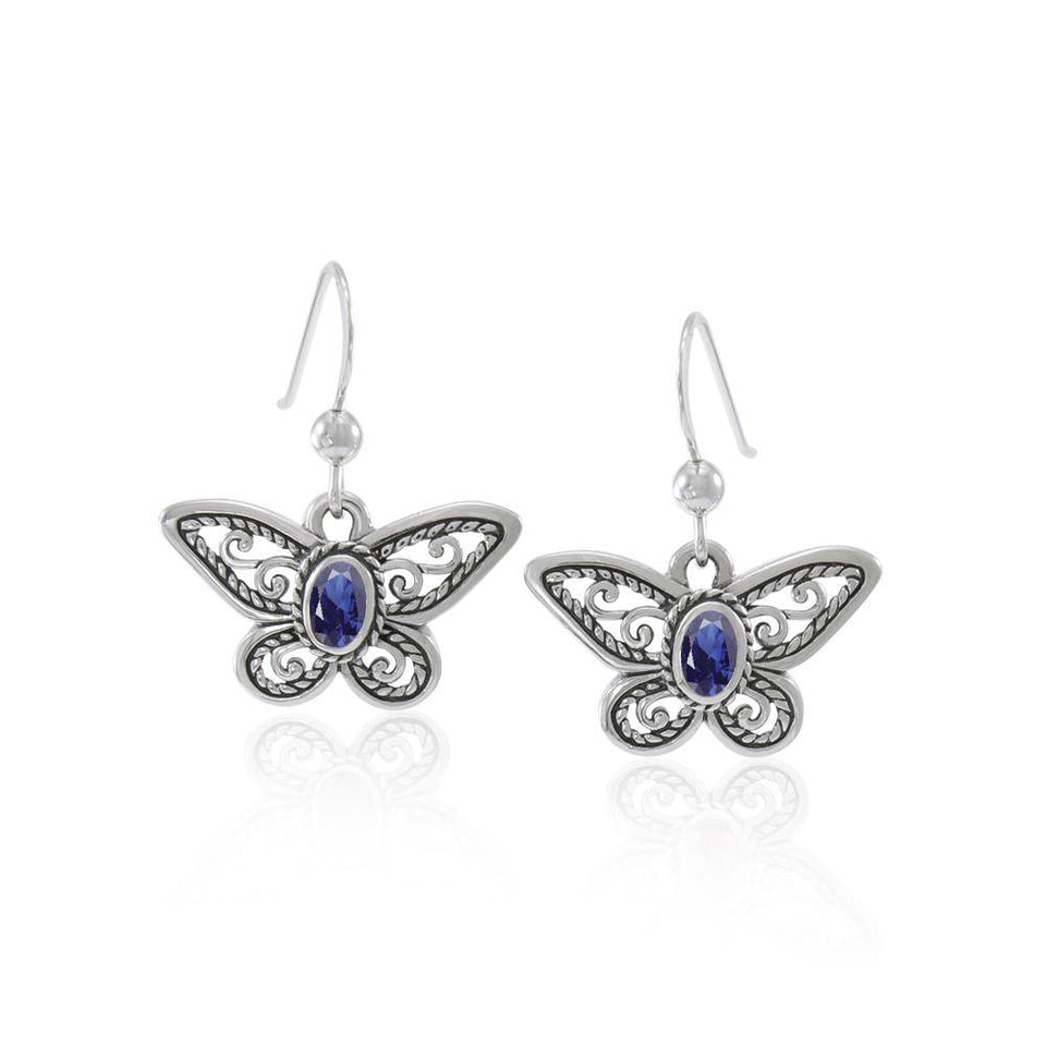 Delighted of the butterflyโ€™s beauty ~ Sterling Silver Jewelry Earrings with Gemstone TER1237