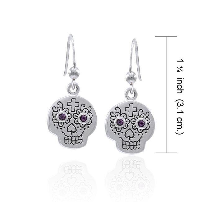 Dia de los Muertos Skull Gemstone Earrings TER1585 peterstone.