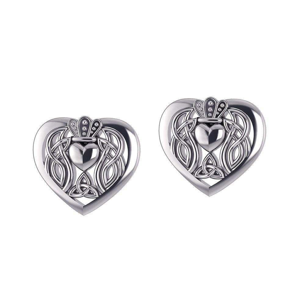 Celtic Claddagh Heart Post Earrings TER1654 peterstone.