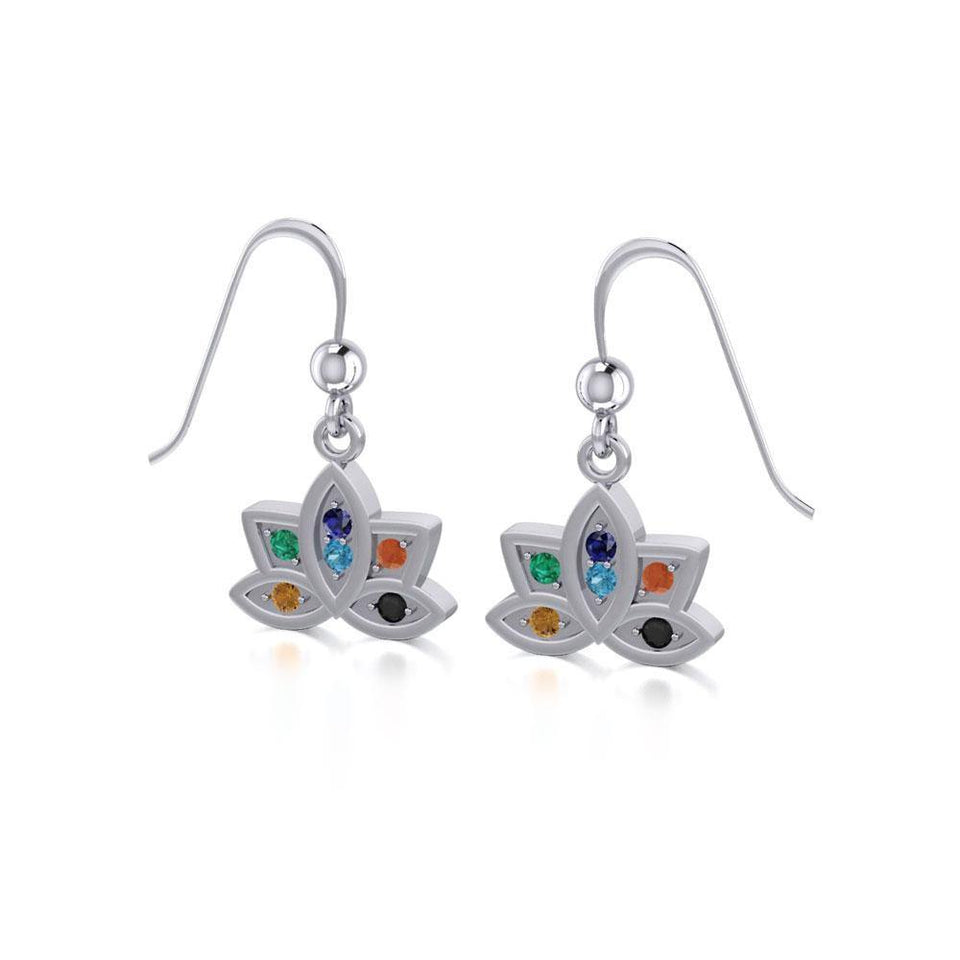 Lotus with Chakra Gemstone Silver Earrings TER1658 peterstone.