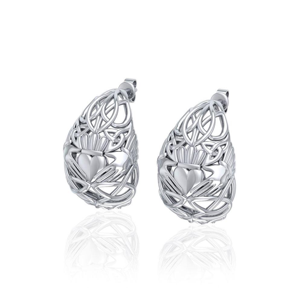 Celtic Claddagh  Silver  Post Earrings TER1673 peterstone.