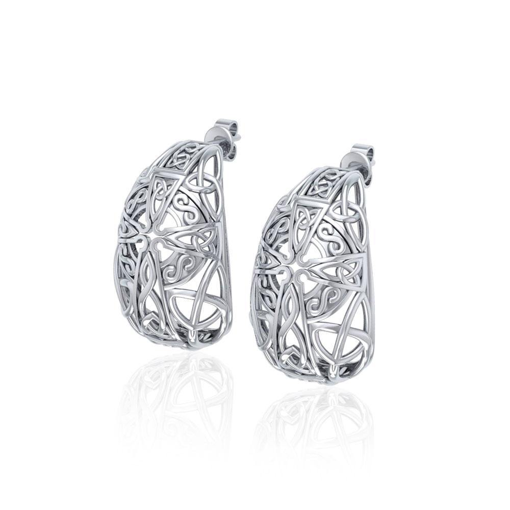 Celtic Cross Silver Post Earrings TER1674