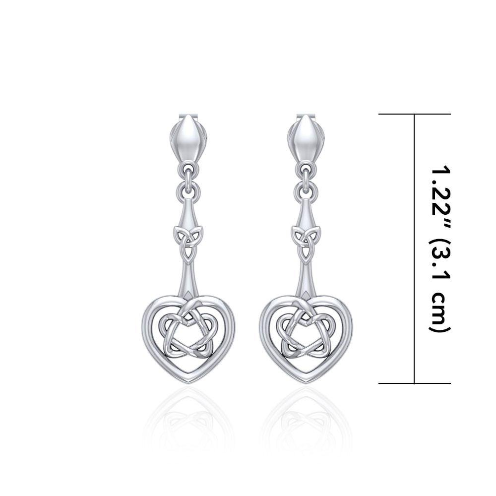 Celtic Heart Silver Post Earrings