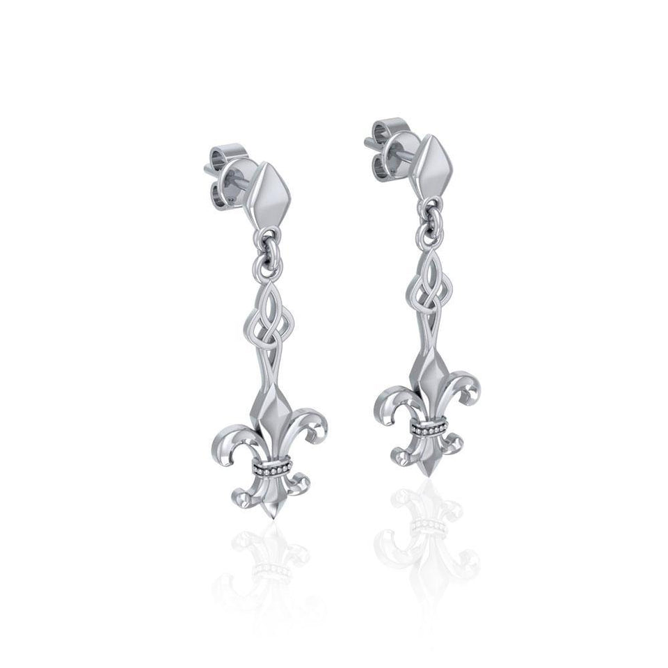 Dignified by the ancient Fleur-de-Lis ~ Sterling Silver Jewelry Post Earrings TER1677
