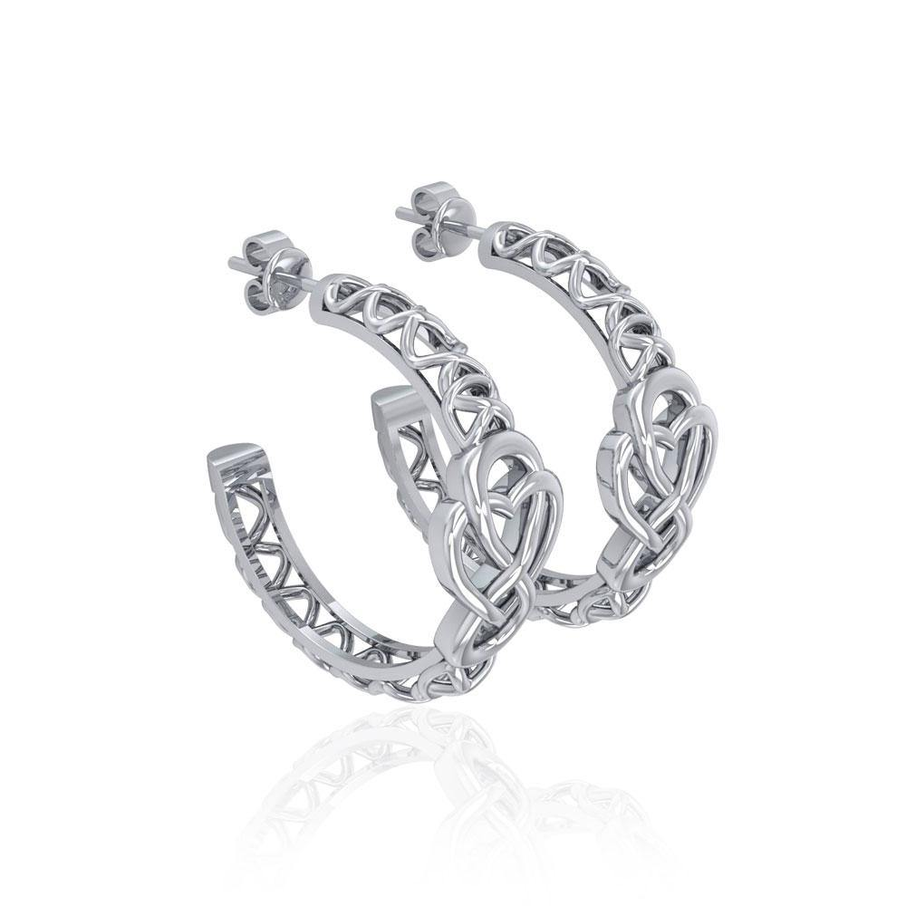 Celtic Knot Silver Hoop Post Earrings