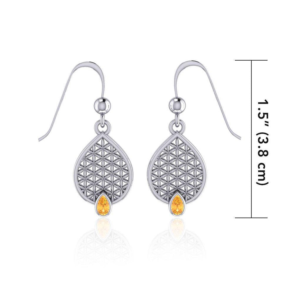 Flower of Life Mandala Silver Earrings with Gemstone TER1687