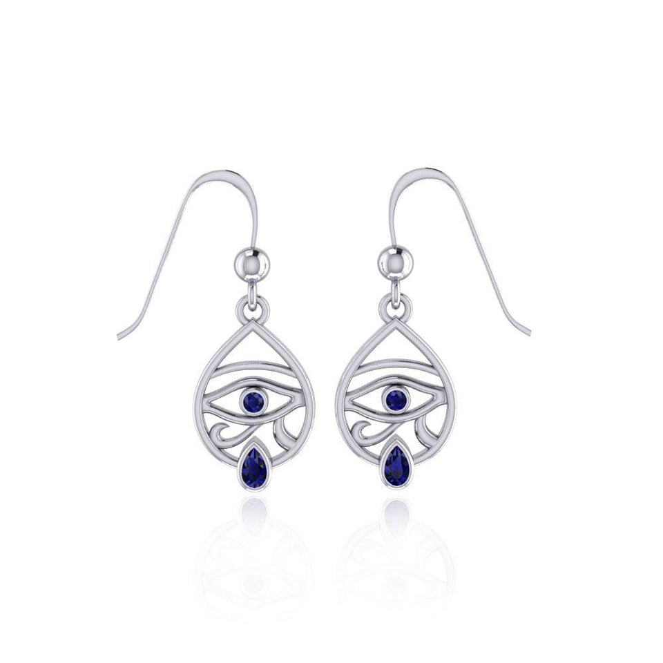 Eye of Horus Silver Earrings with Gemstone TER1688