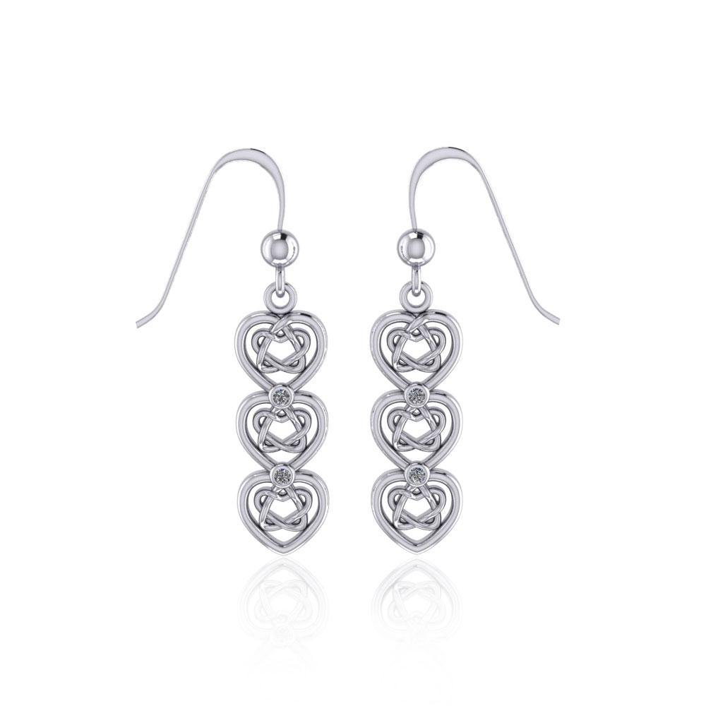 Celtic Knotwork Heart Sterling Silver Earrings with Gemstone TER1689