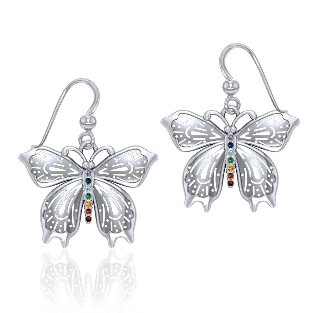 Spiritual Butterfly Silver Earrings with Chakra Gemstone