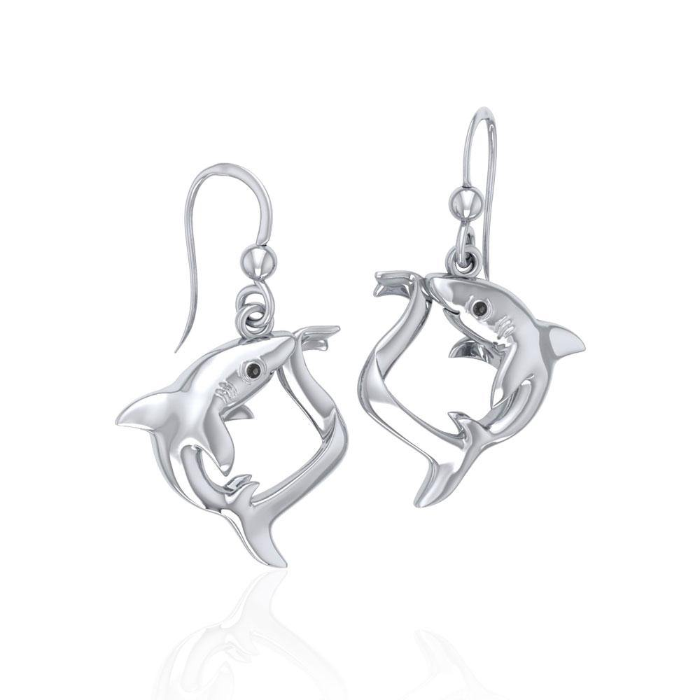 Big Eye Thresher Shark Sterling Silver With Gemstones Earrings TER1697