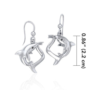 Big Eye Thresher Shark Sterling Silver With Gemstones Earrings TER1697 peterstone.