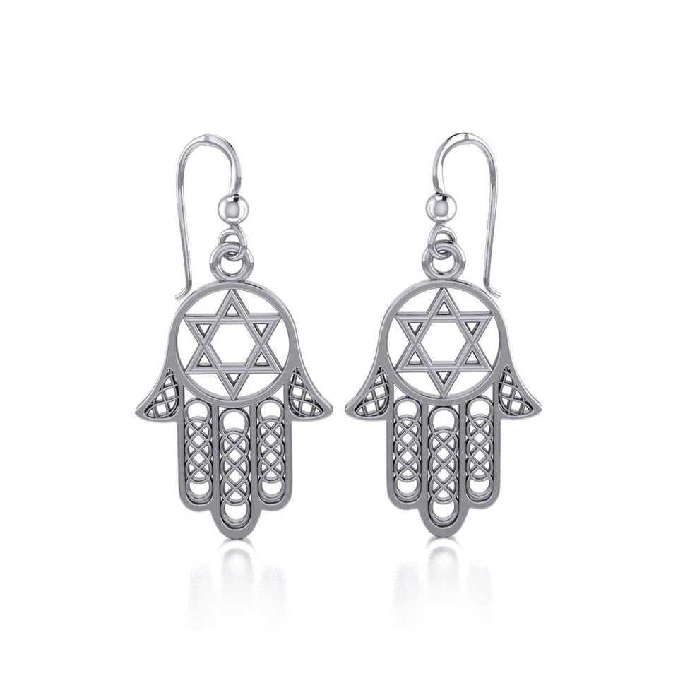 Hamsa Star of David Sterling Silver Earrings TER1699 peterstone.