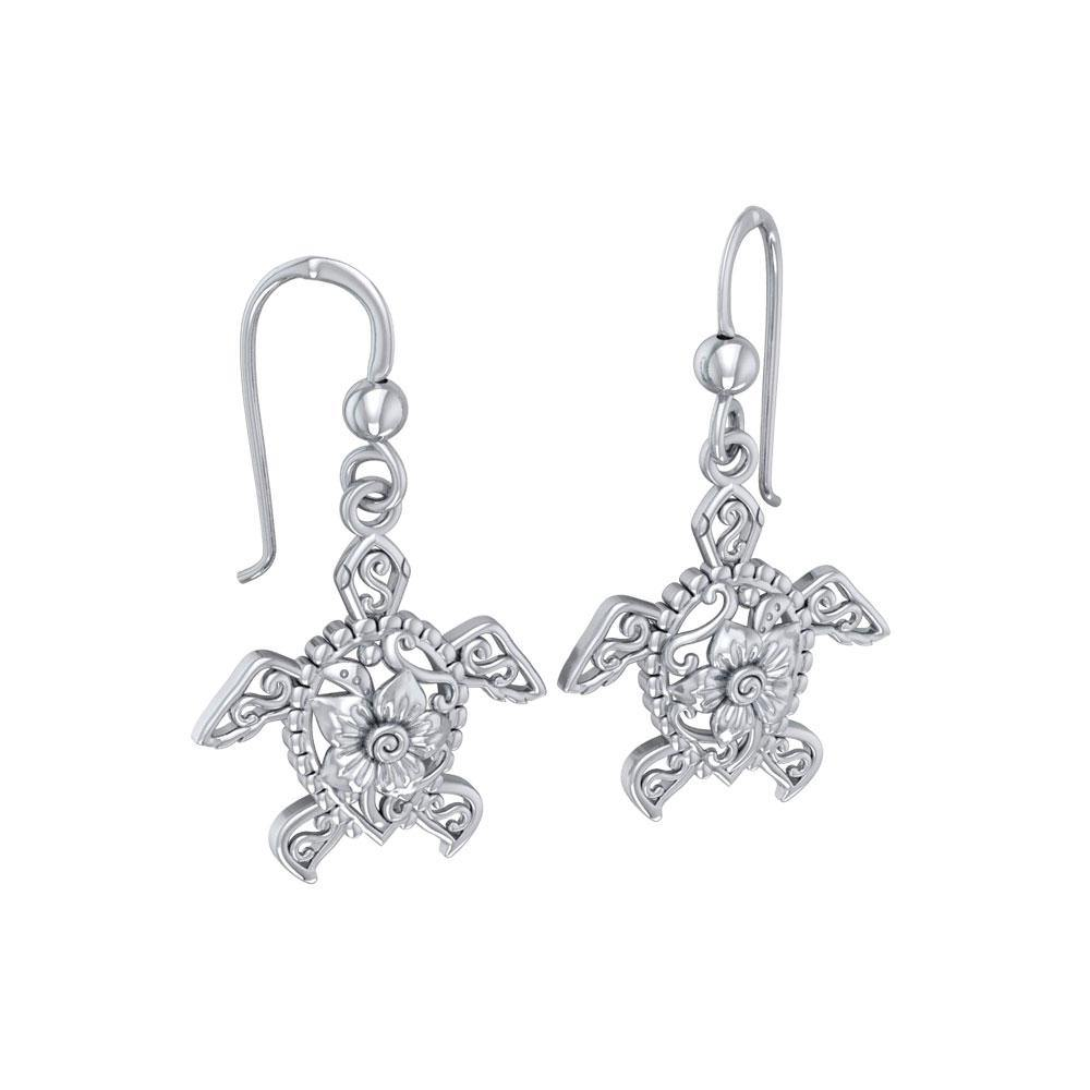 Steady and stable ~ Sterling Silver Sea Turtle Filigree Hook Earrings Jewelry TER1707