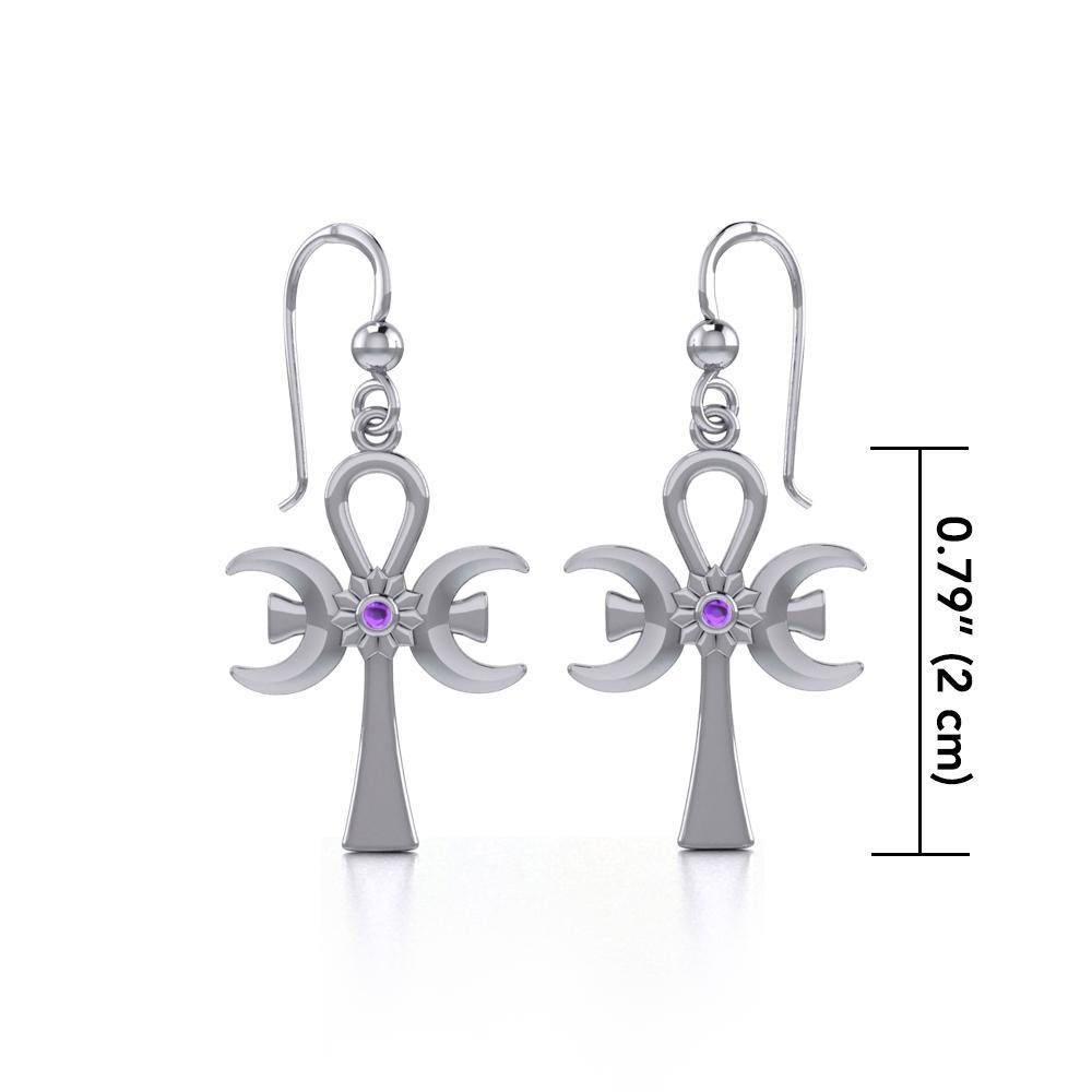 A breath of life ~ Sterling Silver Triple Goddess Ankh Hook Earrings with Gemstone TER1708