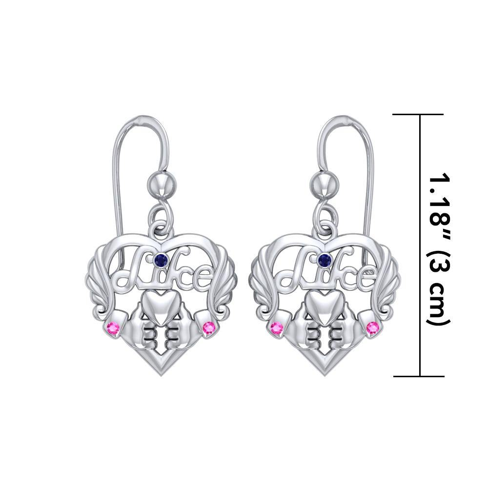 Be like yourself ~ Sterling Silver Like Icon Heart Earrings with Gemstones
