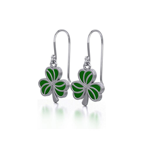 Enamel Shamrock  Clover Silver Earrings TER1718 peterstone.