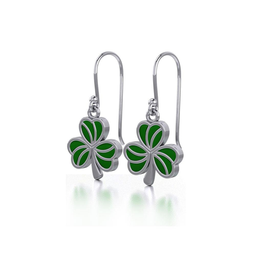 Enamel Shamrock Clover Silver Earrings
